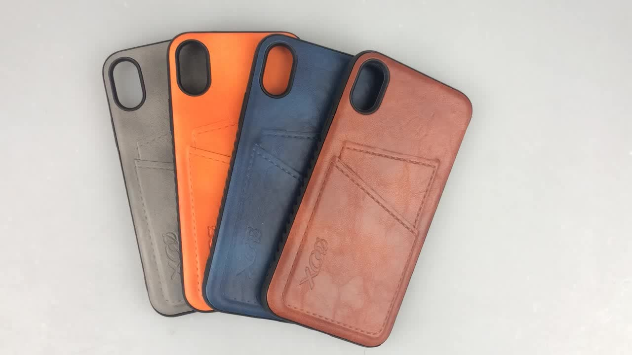 2020 New Design Luxury sticker OEM PU Leather Hard PC Case for iphone Xs Max