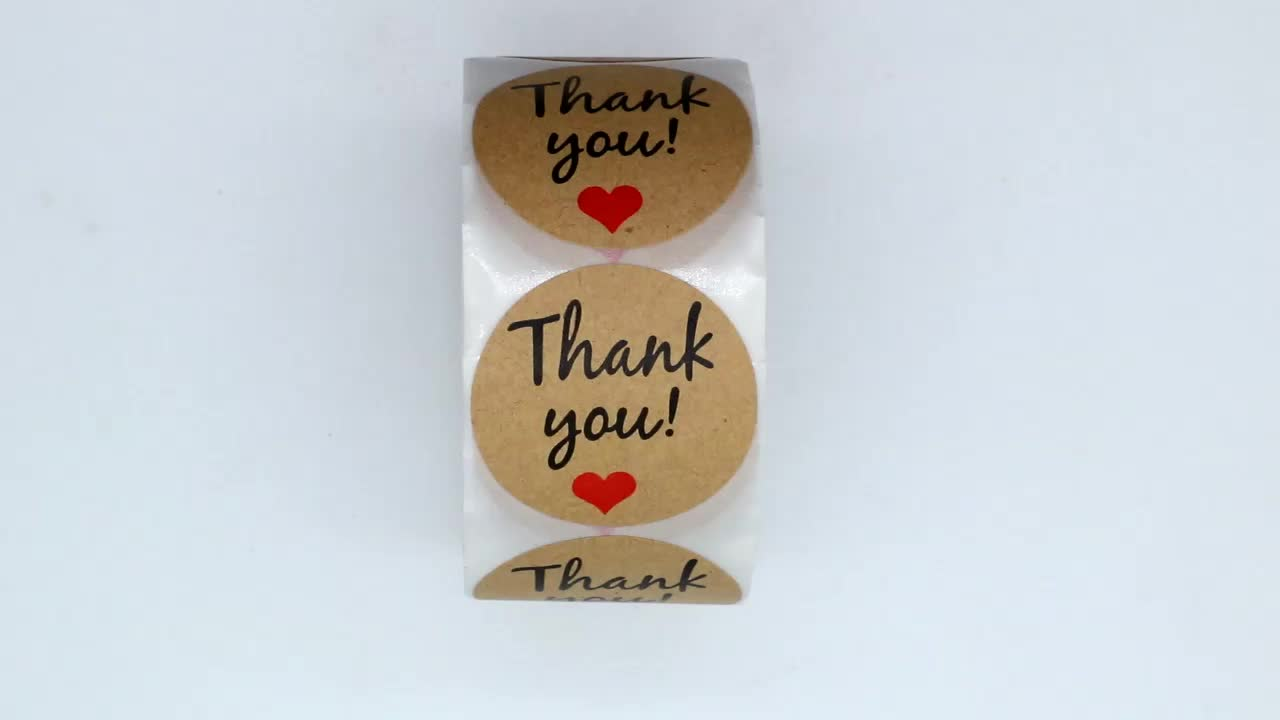 "Hybsk 1.5"" Inch Round Kraft Paper Thank You With Red Heart Stickers Total 500 Adhesive Labels Per Roll"