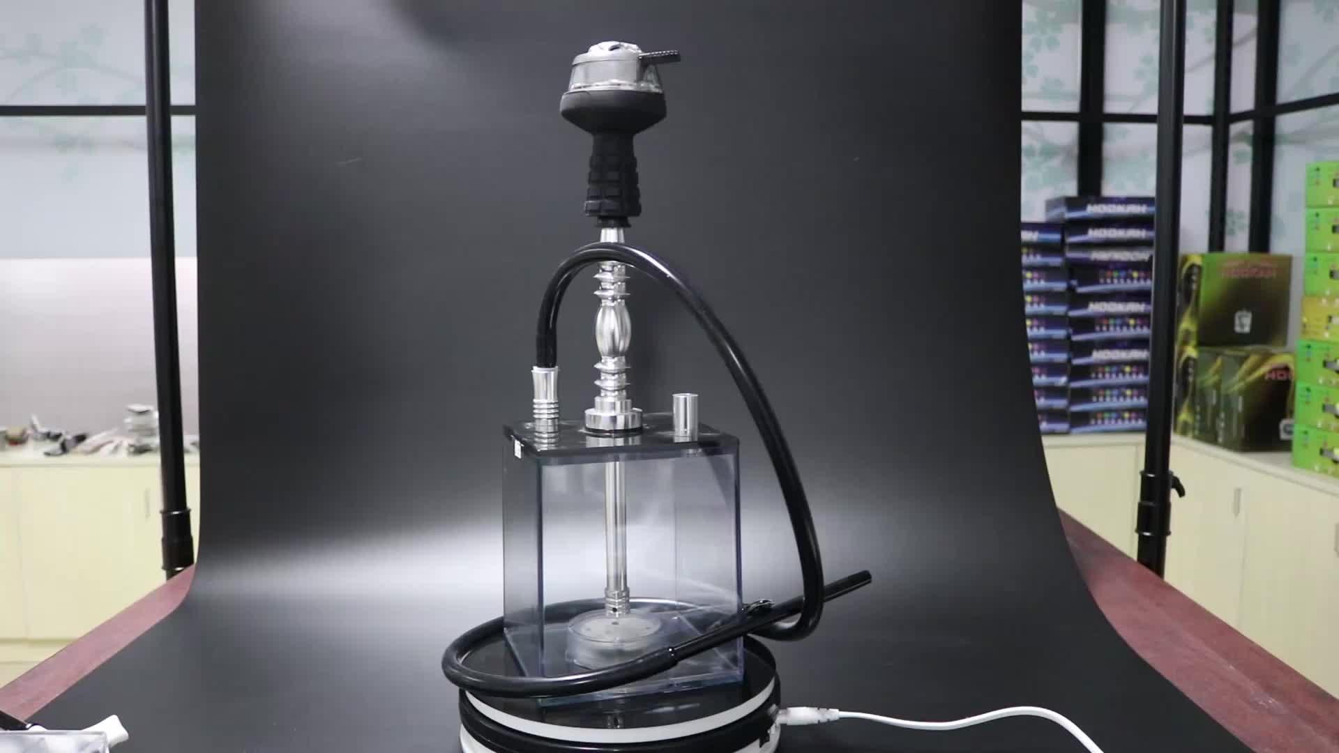 סיטונאי נרגילה נרגילות מודרני שקוף sheesha chicha קוביית נרגילות כיכר אקריליק נרגילה למכירה עם LED אור