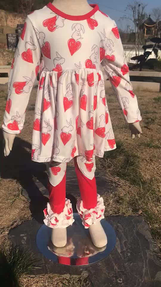 2019 New styles children clothing long sleeve solid tunic and scale print ruffle pants matching clothing sets
