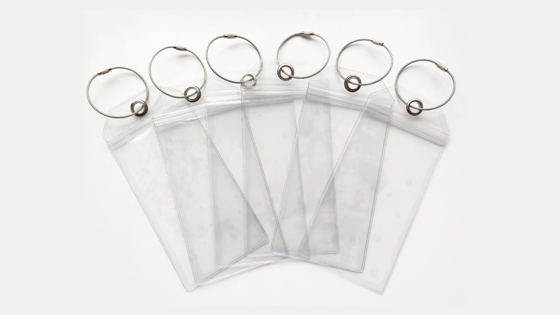 Groothandel clear PVC bagage tas tags aangepaste plastic cruise tag met papier protector zip seal en staal loops