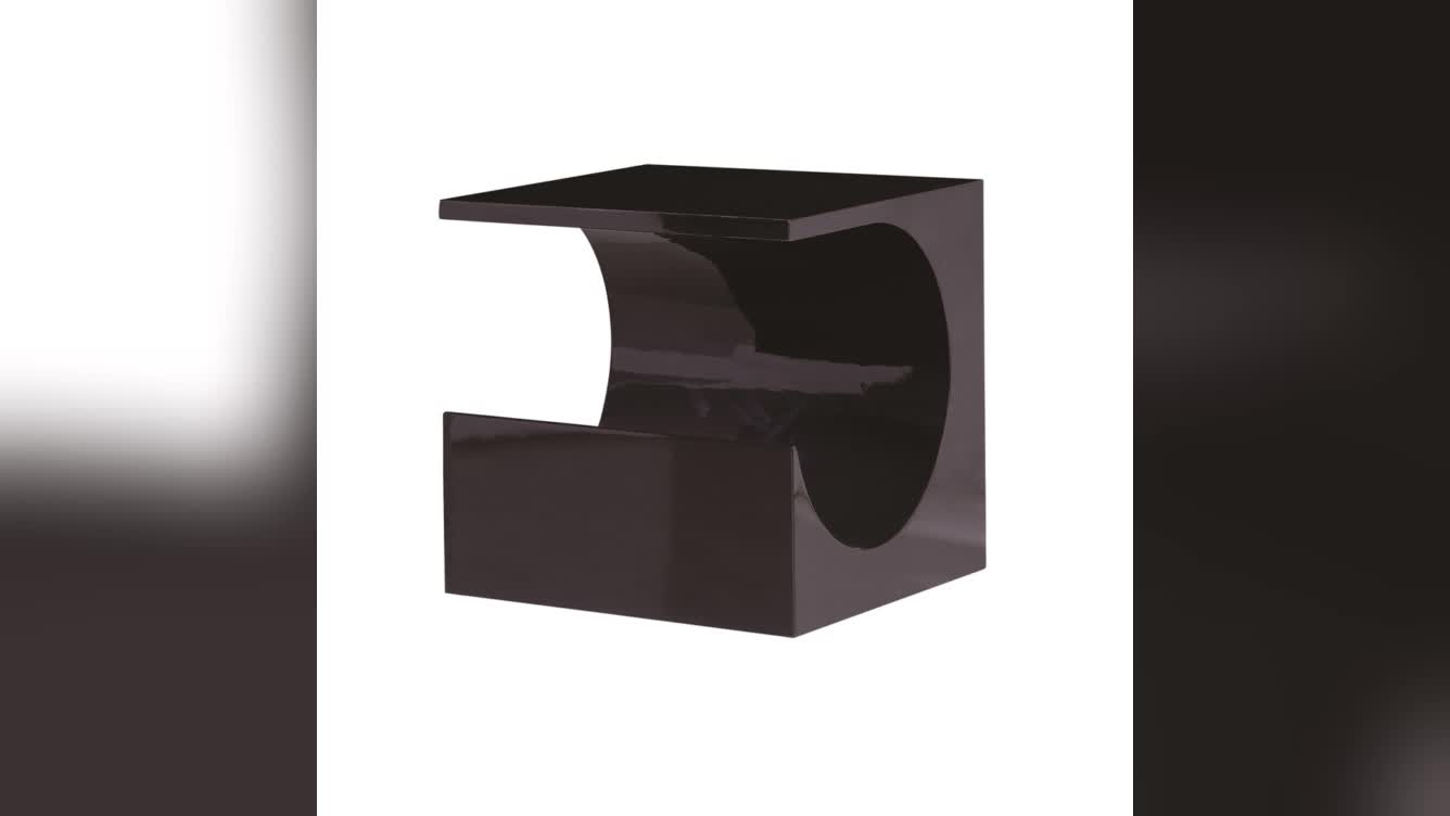 Creative MDF board high gloss square mirrored coffee table c shape end table in Black or White
