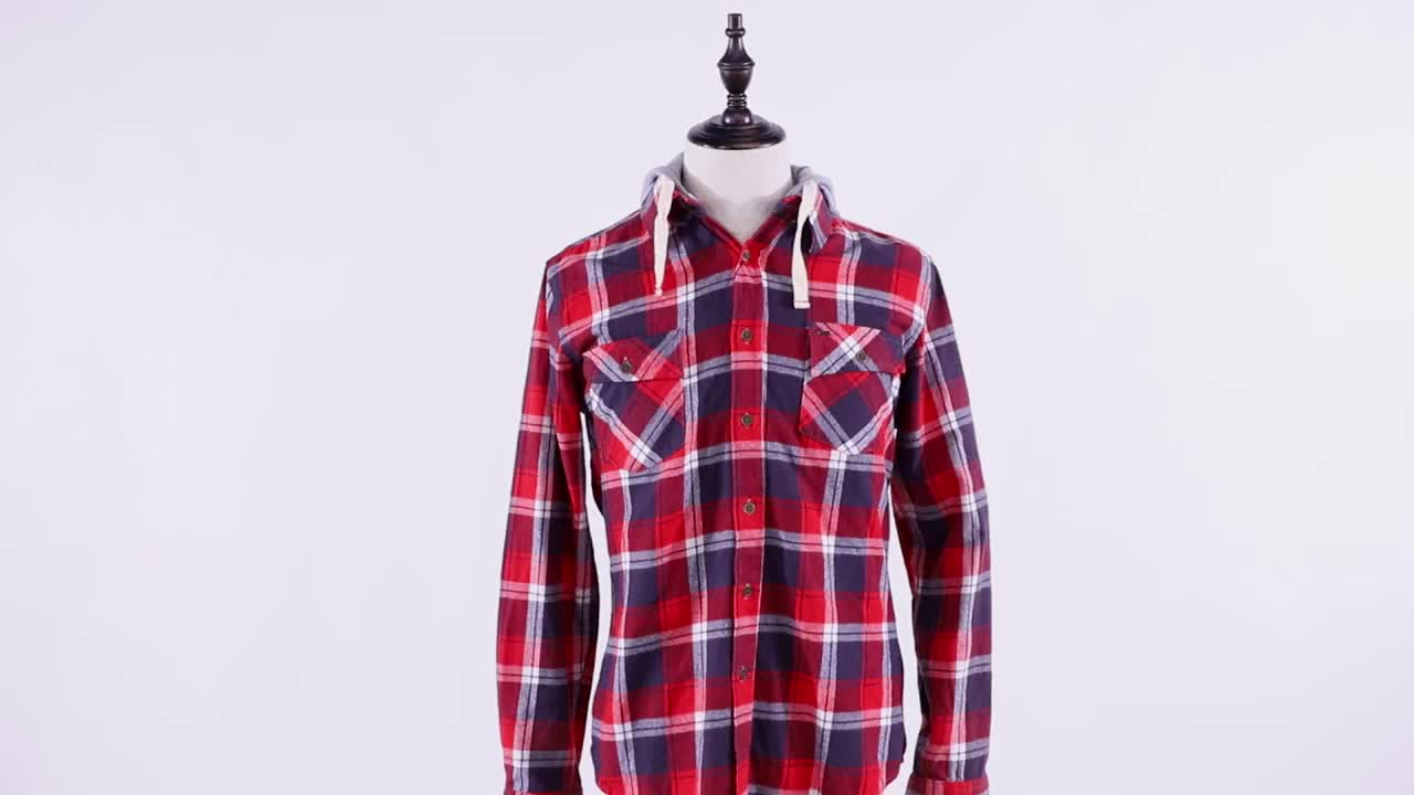 Wholesale custom men casual autumn check hooded flannel shirt 100% cotton
