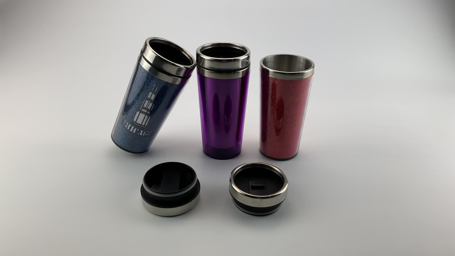 Aangepaste logo rvs koffie thermo mok met inlegvel