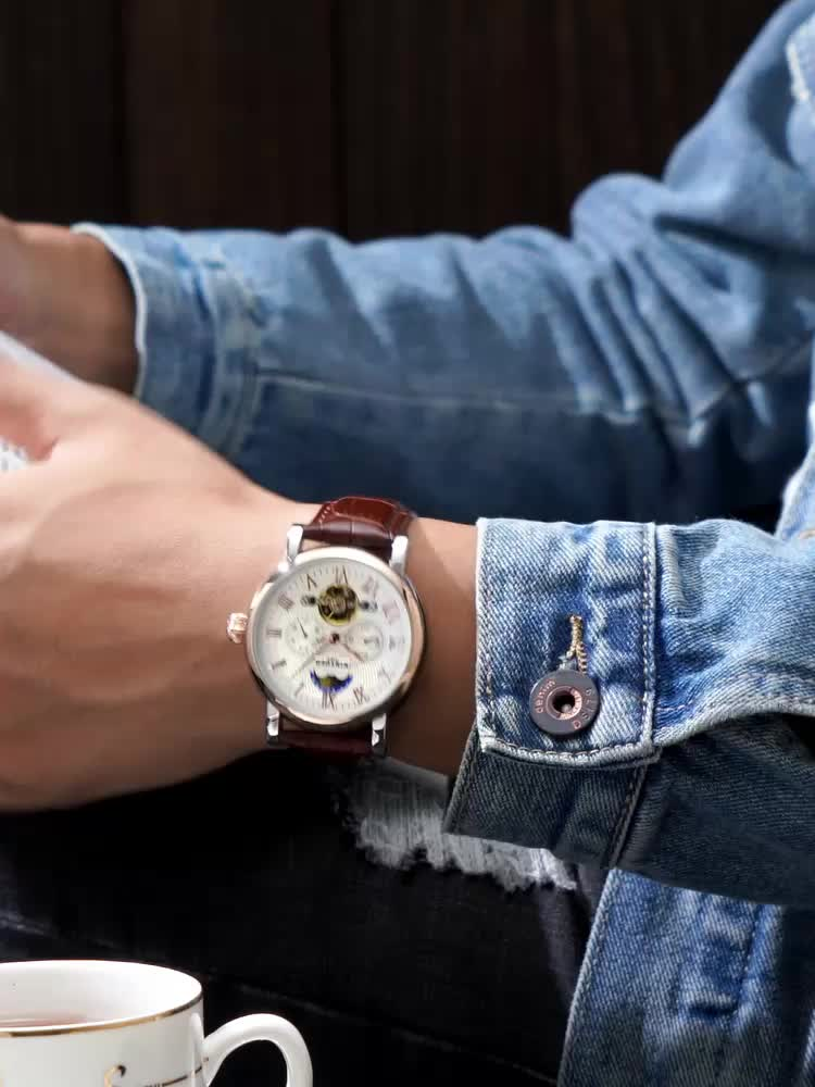 KINYUED 2019 Creative Automatic Men Watches Luxury Brand Moon Phase Mens Mechanical Watch