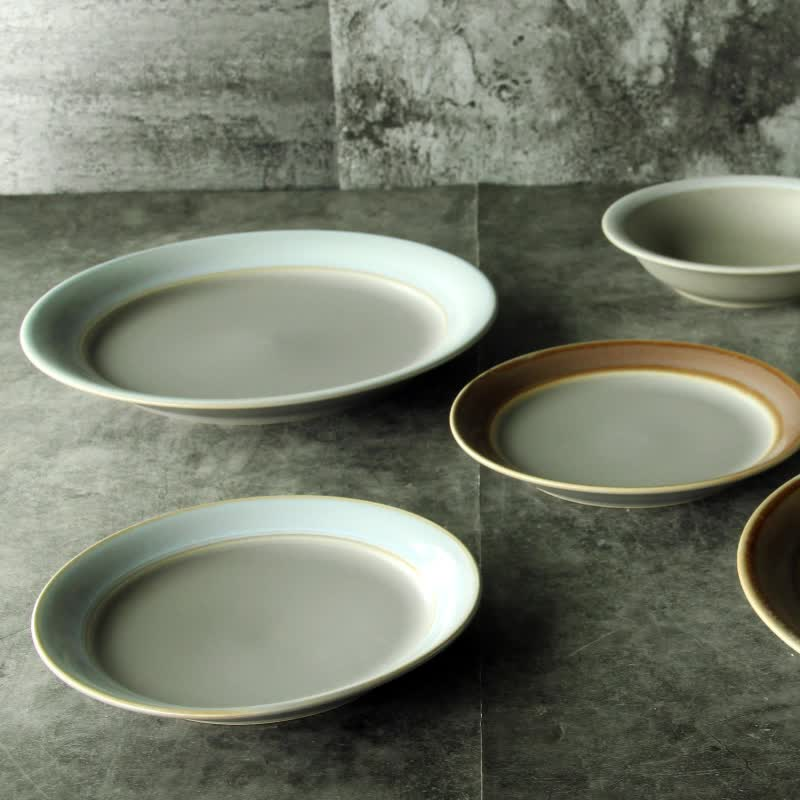 "Korea style home table dinnerware high quality glazed cheap ceramic flat 4/5/5.5/8/9""porcelain plate"