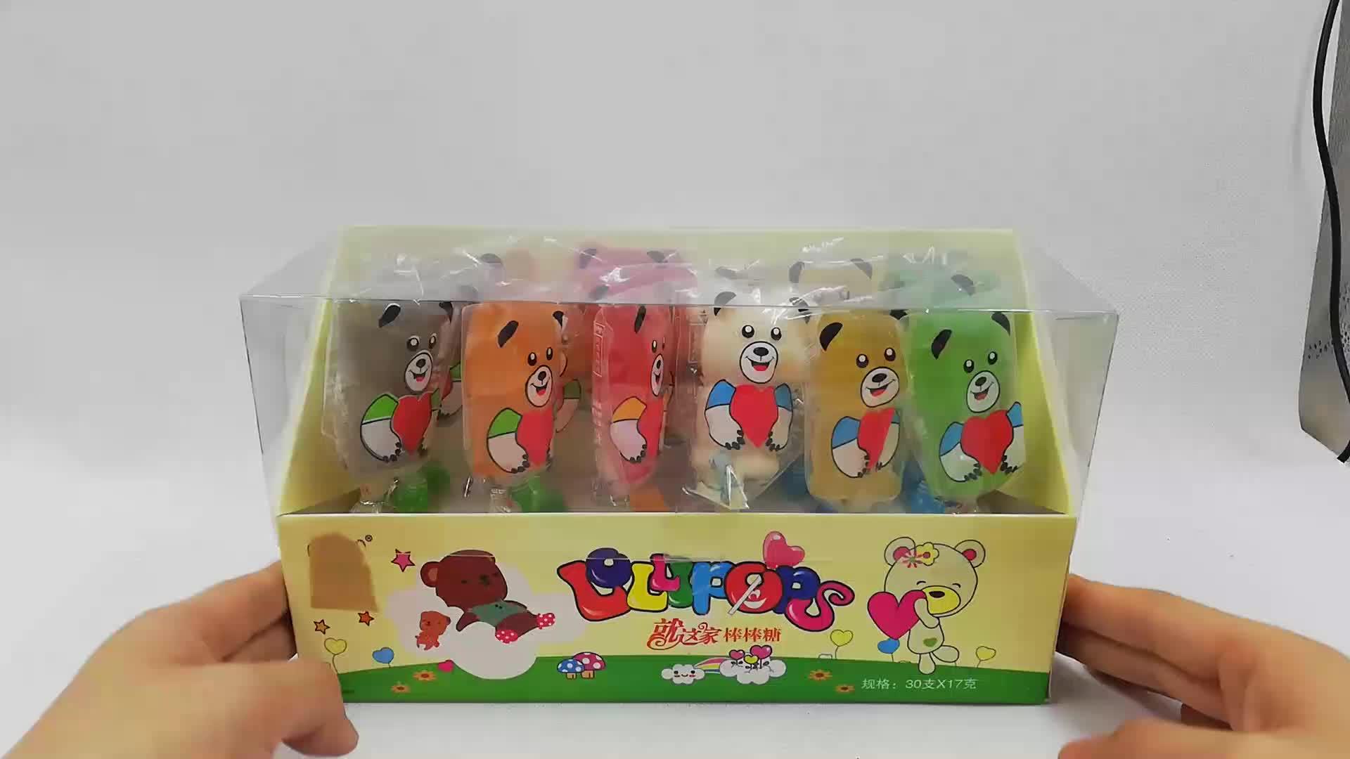 Halal fruit lollipop schattige konijn vorm jelly pop gummy candy zachte stok snoep