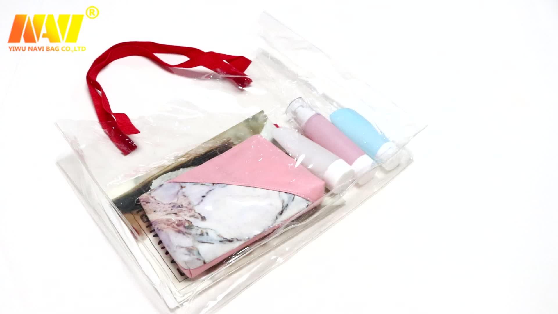2020 custom printed clear pvc tote bag plastic rope handle shopping handbag summer beach bag