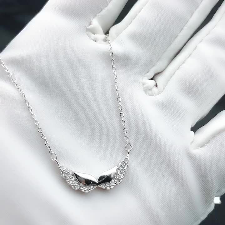 Newest 925 Sterling Silver Wing Necklace for Girl