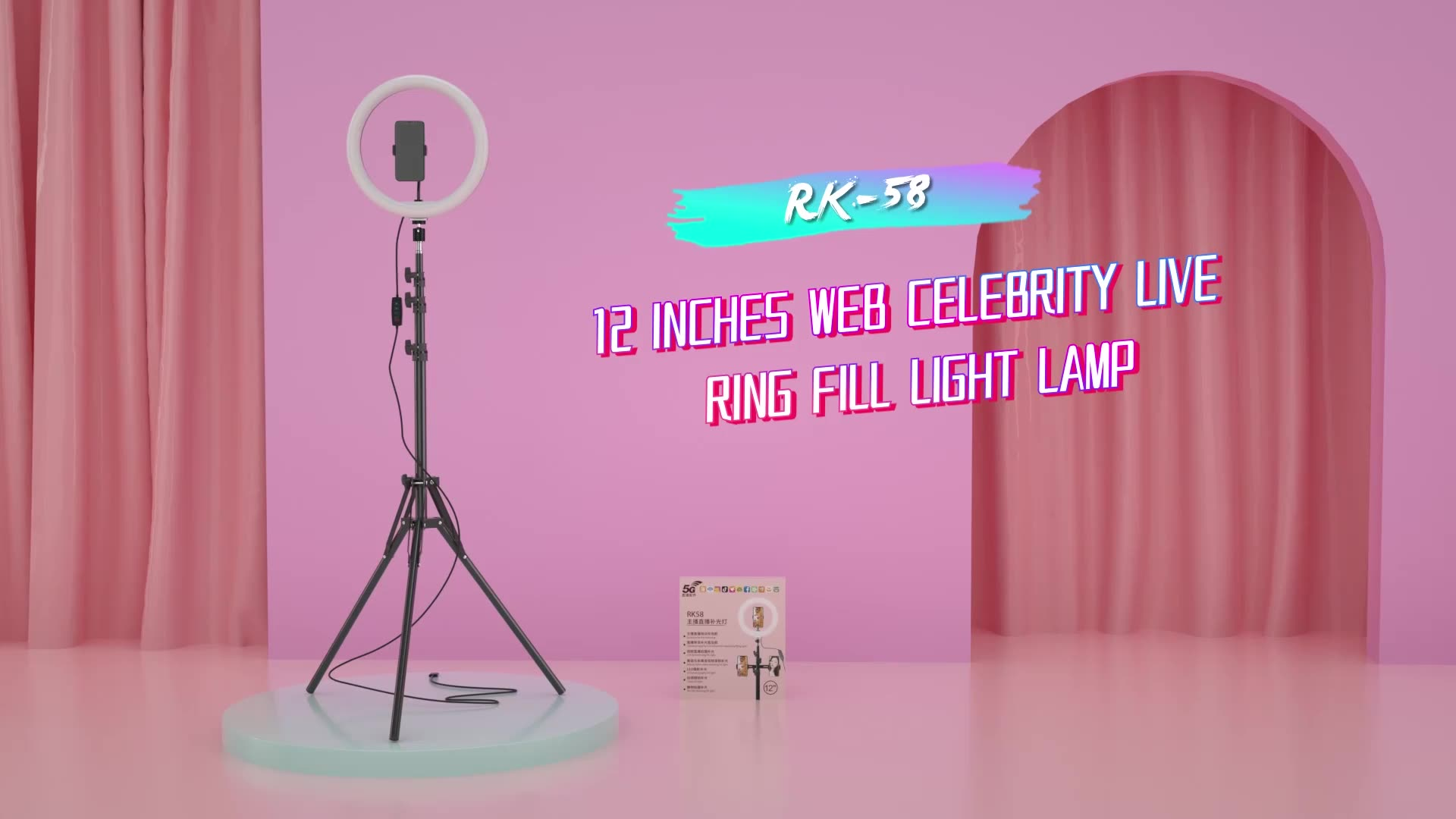 LED Ring Light with Stand tripod 12 inches/21cm Dimmable 3 Light Modes 10 Brightness USB Beauty selfie ring light makeup