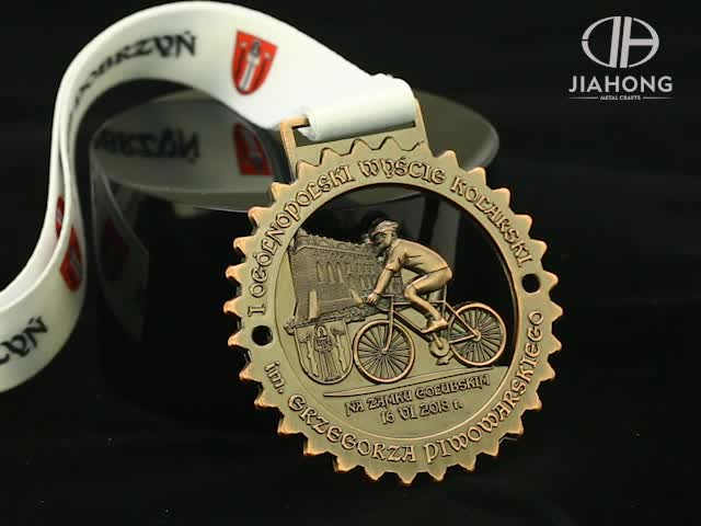 Custom made european feature sport cycling award medal