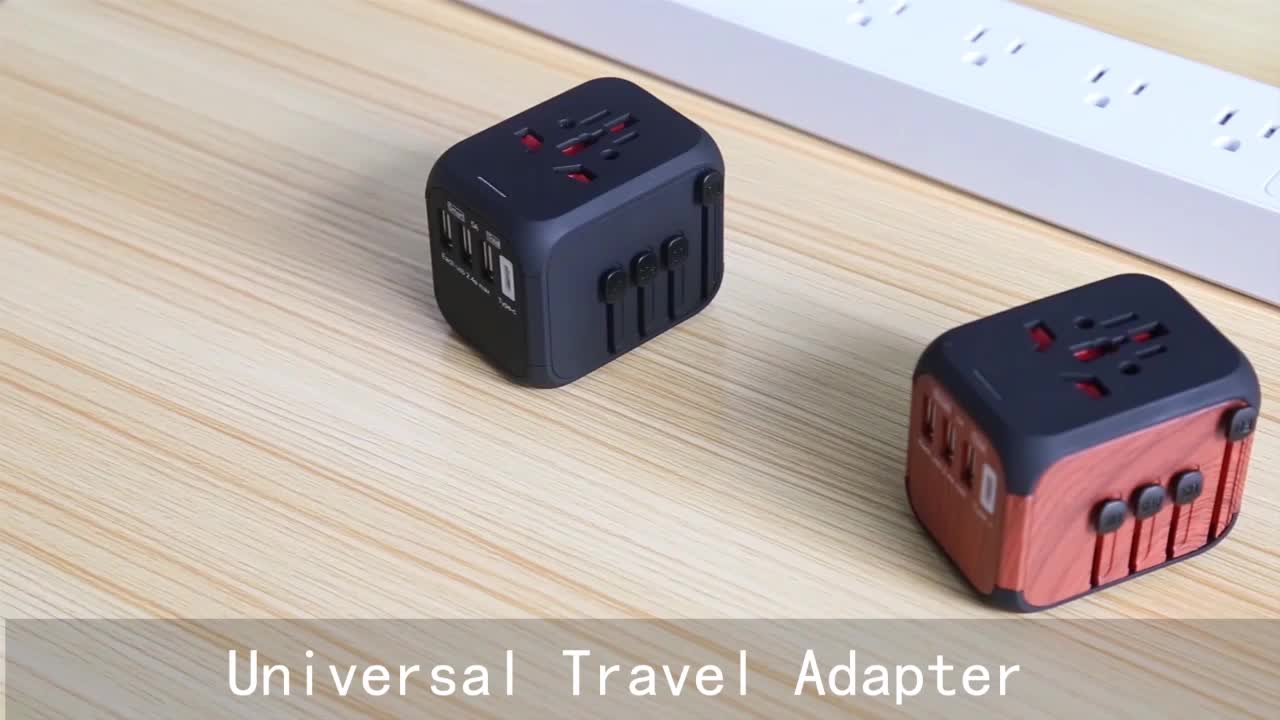 Universal Travel Adapter with 5V 5A 4 USB Wall Charger and 1 Universal AC socket, International Travel Power usb type-c Adapter