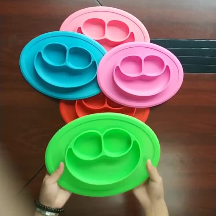 Sucked type smile shape silicone kid plate integrated design non-slip kids placemat