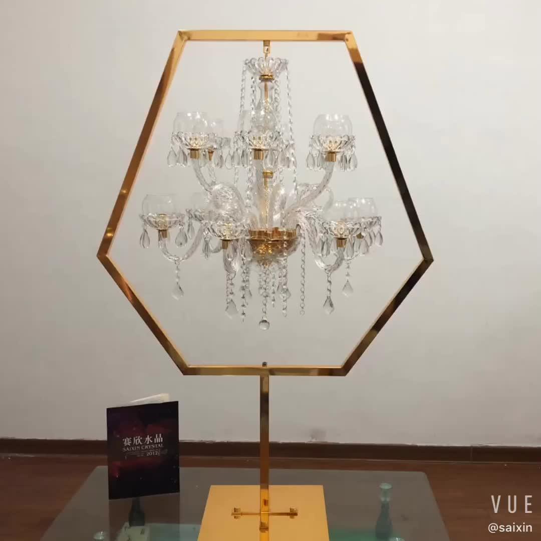 ZT-405G New  wedding centerpiece gold metal stand crystal chandelier candle holder