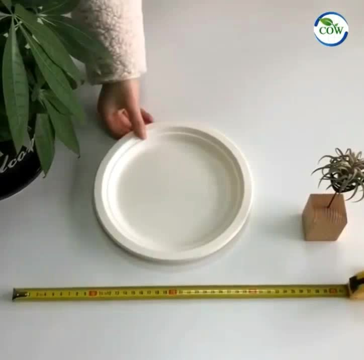 9 inch round disposable tableware sugarcane bagasse pulp paper party plate compostable 100% biodegradable plates