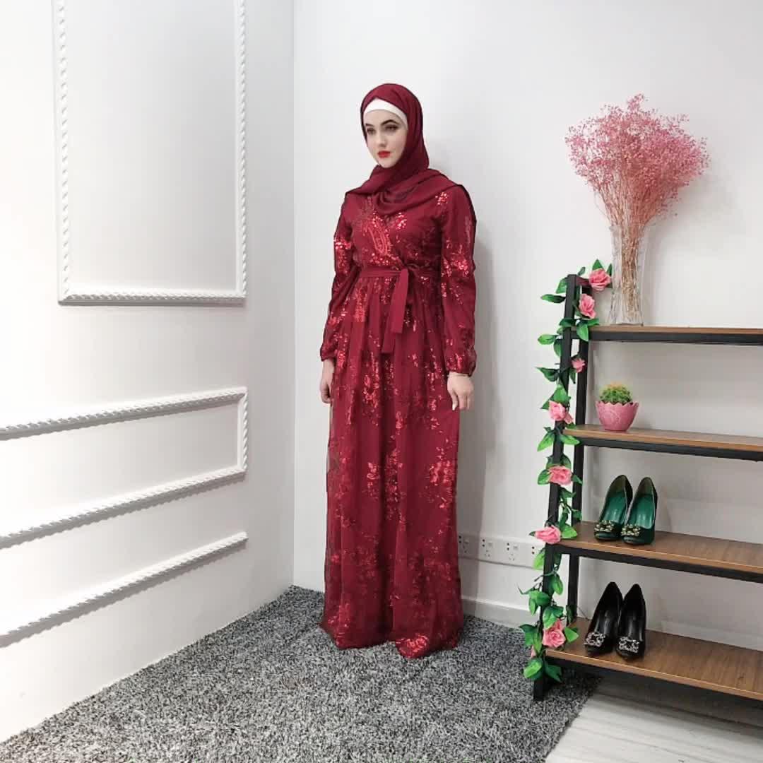 2019 EID Fashion Women Islamic Maxi Long Lace Sequin Dress