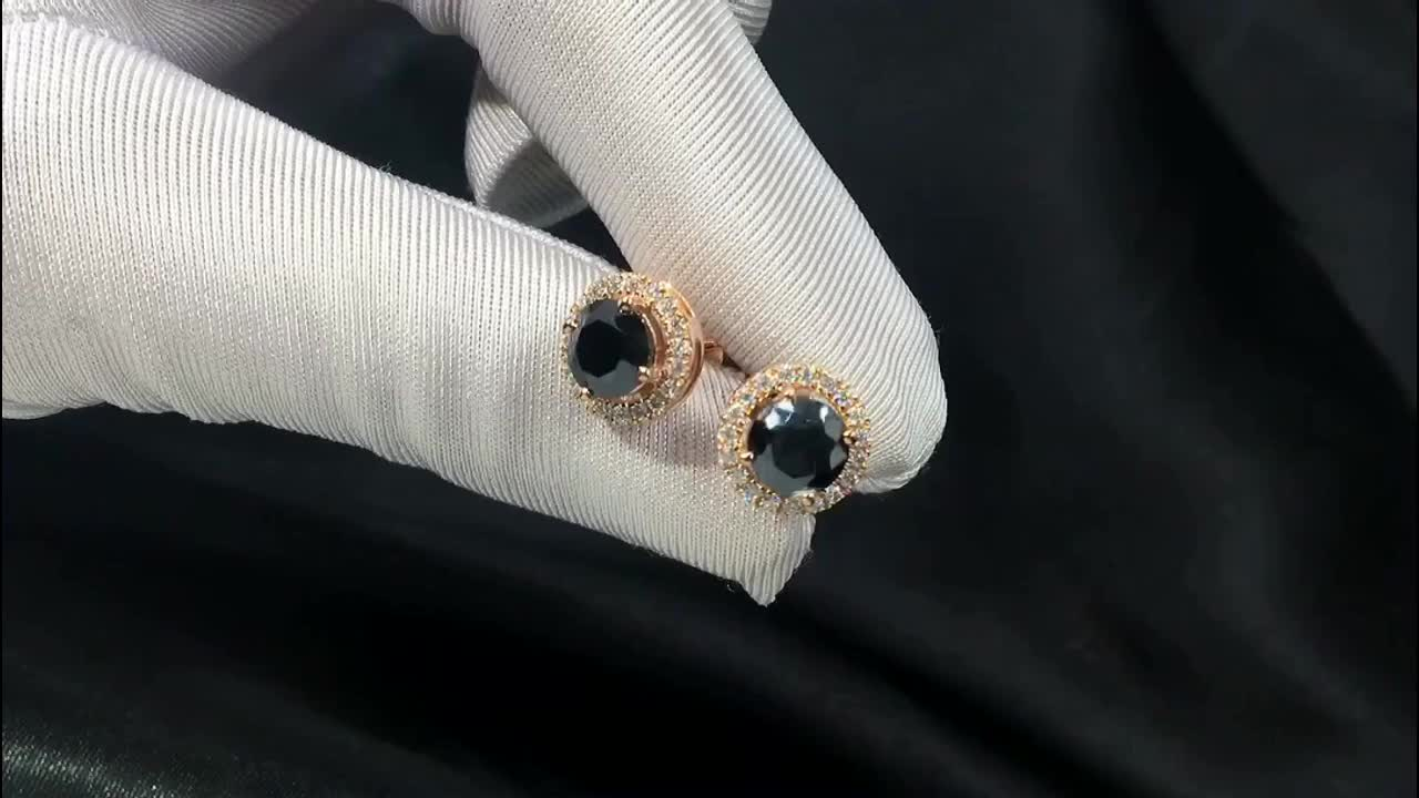 Tianyu gem factory solid rose gold jewelry wholesale 1 carat black round cut moissanite halo stud earrings for women lady