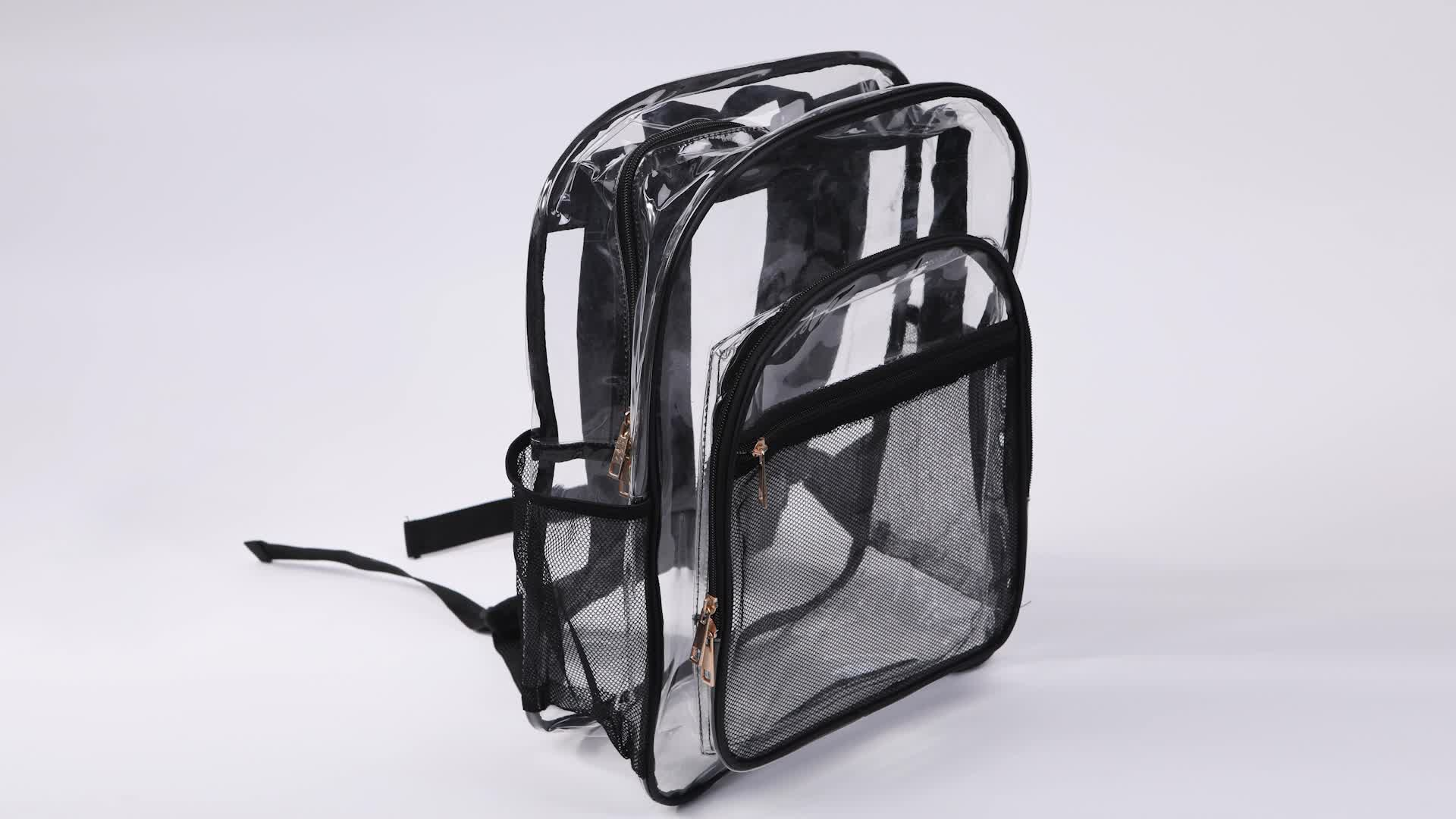 Strong Clear Transparent PVC Shoulder Backpack with Multiple Pockets
