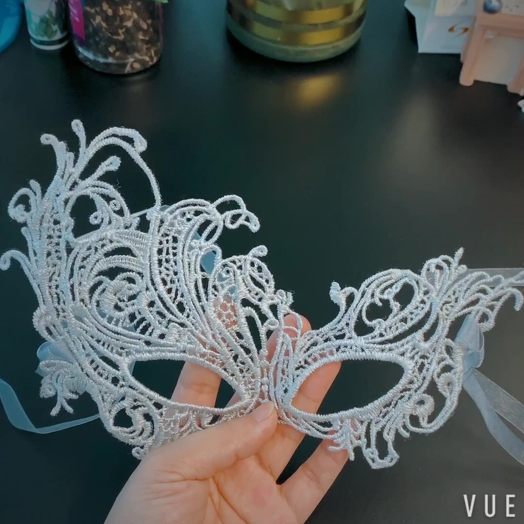 Cheap Chinese custom embroidery fashion lace party face Halloween mask