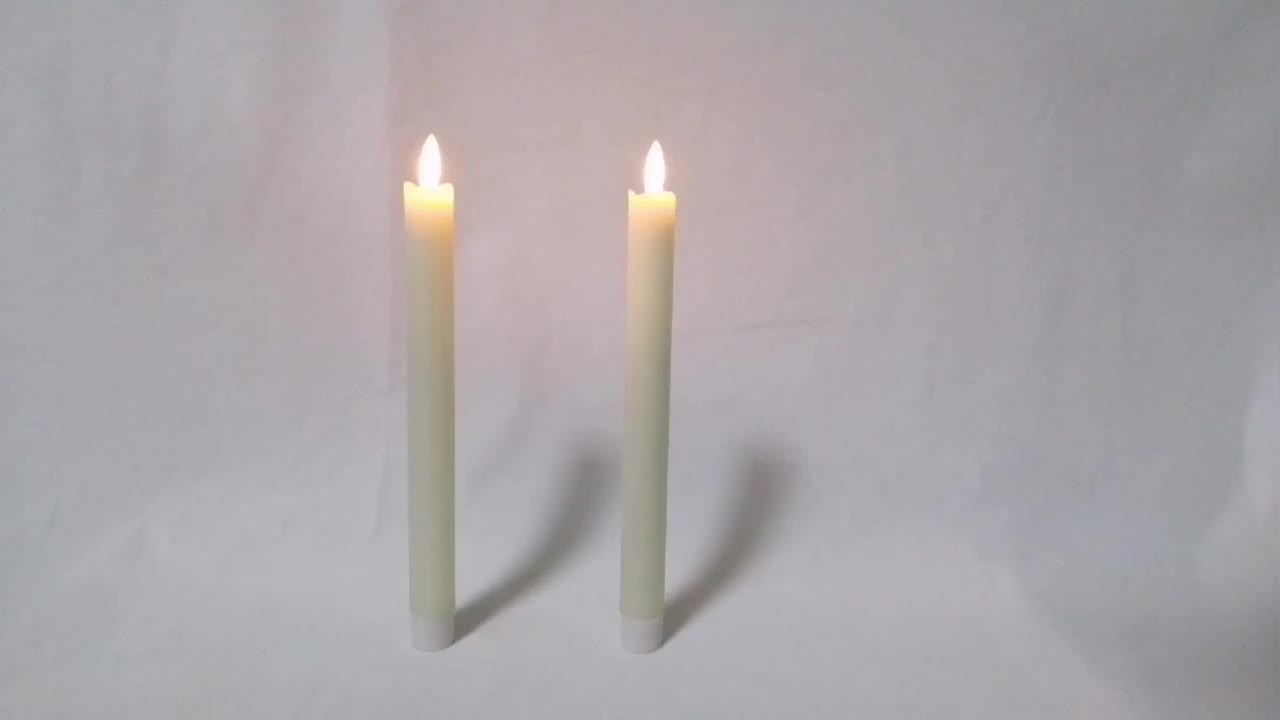 Pack 5 sets remote controlled paraffin wax flicker thin rod led stick long candles