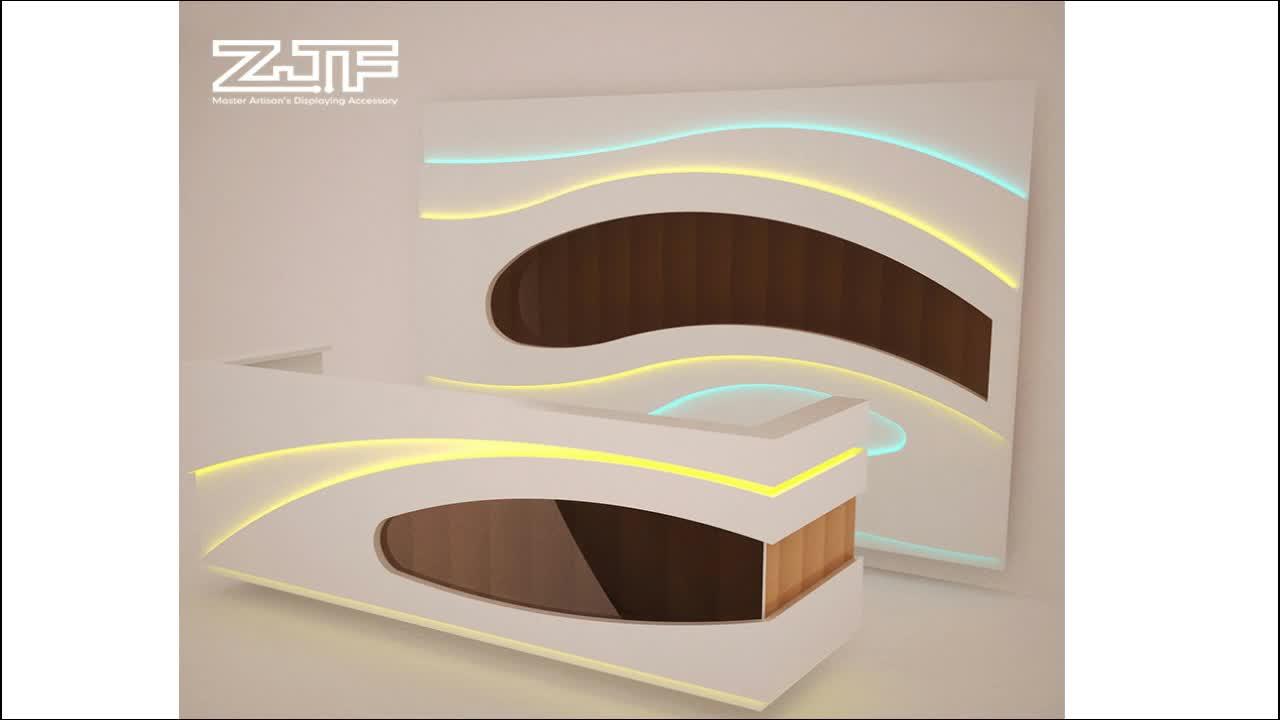 I shaped restaurant reception counter modern acrylic mini LED bar counter for sale
