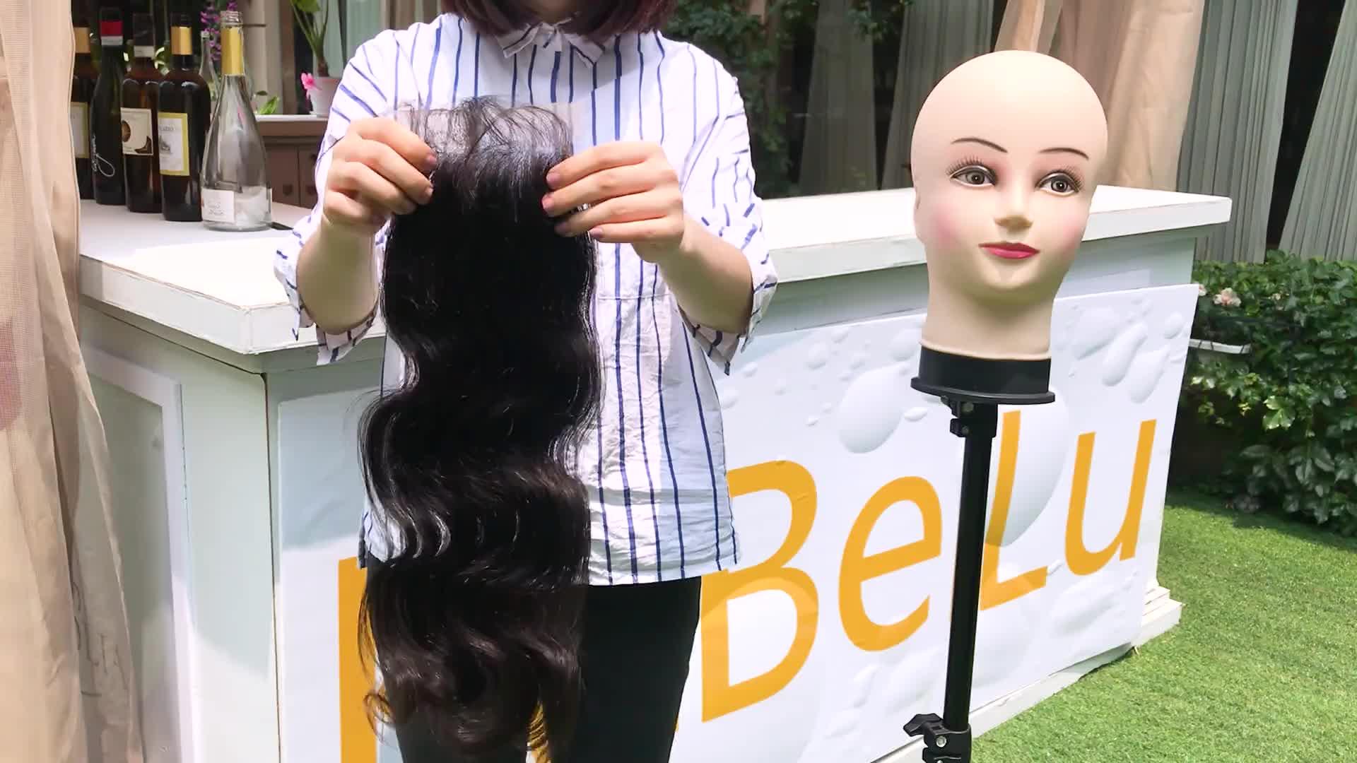 4 3 way part chiusura dei capelli del virgin dei capelli bundle con chiusura del merletto, vergine brasiliana dei capelli umani con chiusura, orecchio a orecchio chiusura del merletto
