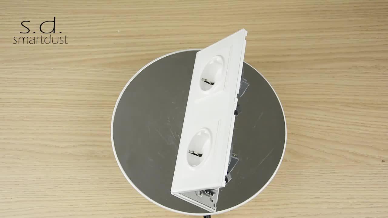 Smartdust EU Design 220v Glass 15 Amp AC Power Universal European Outlet Wall Socket Electrical Plug