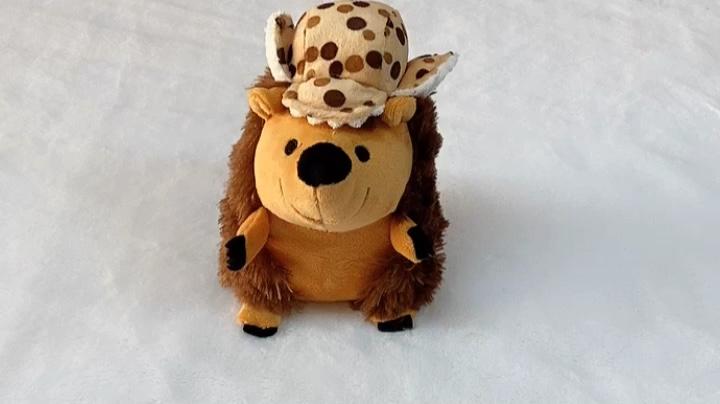 Изготовленный На Заказ нерушимая Плюшевые животных жевать игрушка с мультипликационным принтом в виде ежа скрипучий игрушки для собак