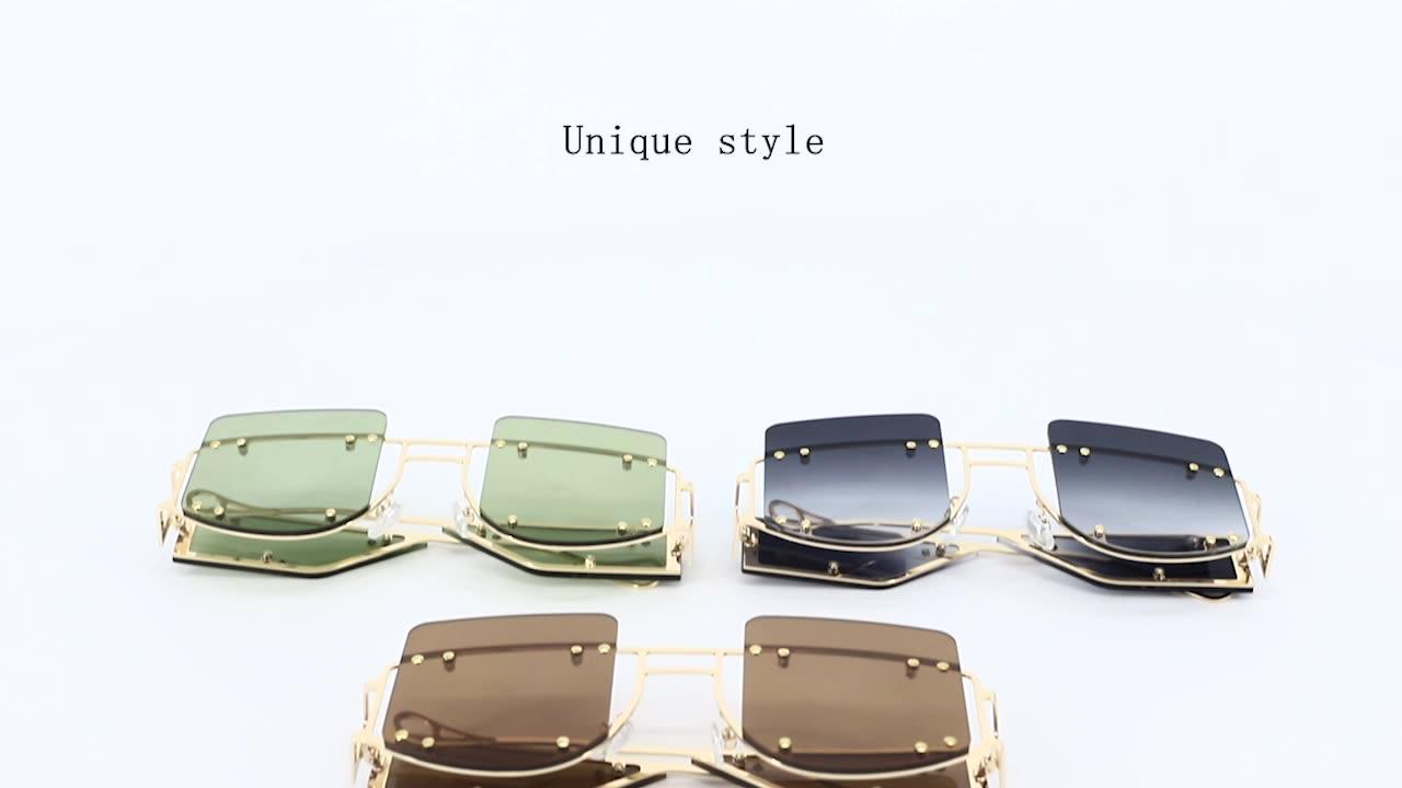 OEM ladies sunglasses 2020 women rivet frame glasses luxury