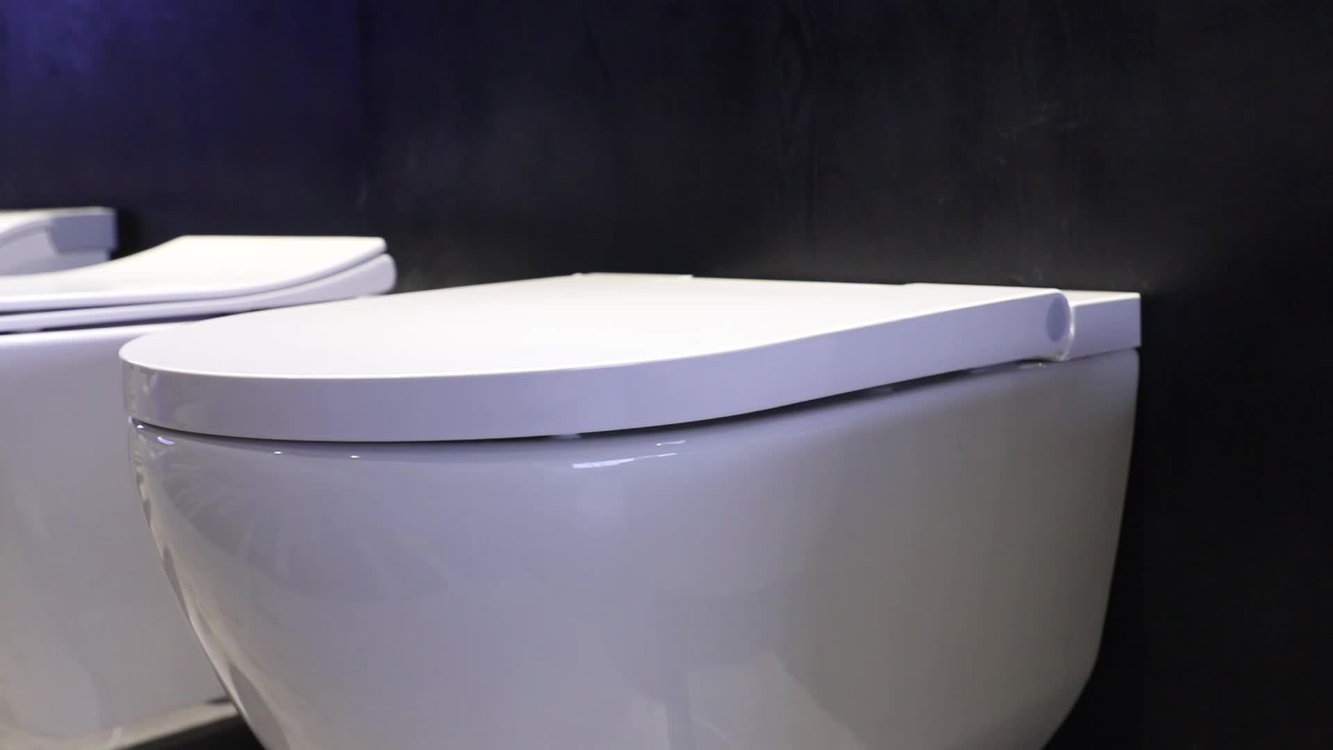 Easy-cleaning Space-saving design bathroom ceramic rimless wall hung toilet