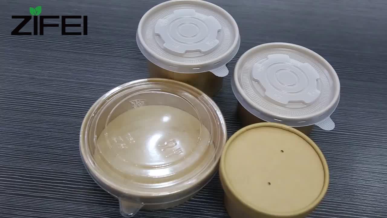 Sıcak satış Tek Kullanımlık yuvarlak kraft kağıt salata kasesi şeffaf plastik kapaklı