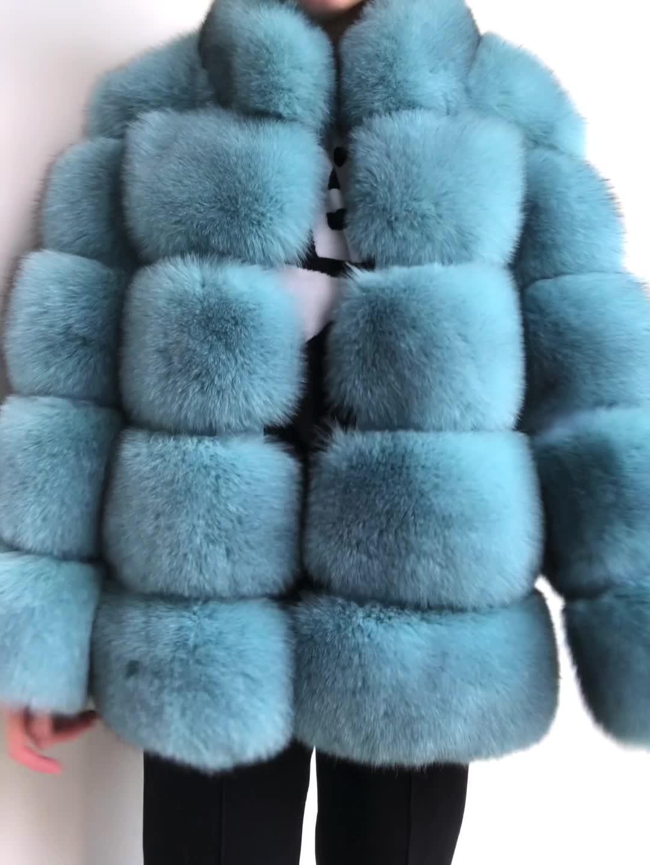 2016 Finland Whole Skin Blue Fox Fur Overcoat Jacket Women Genuine Fur Coat