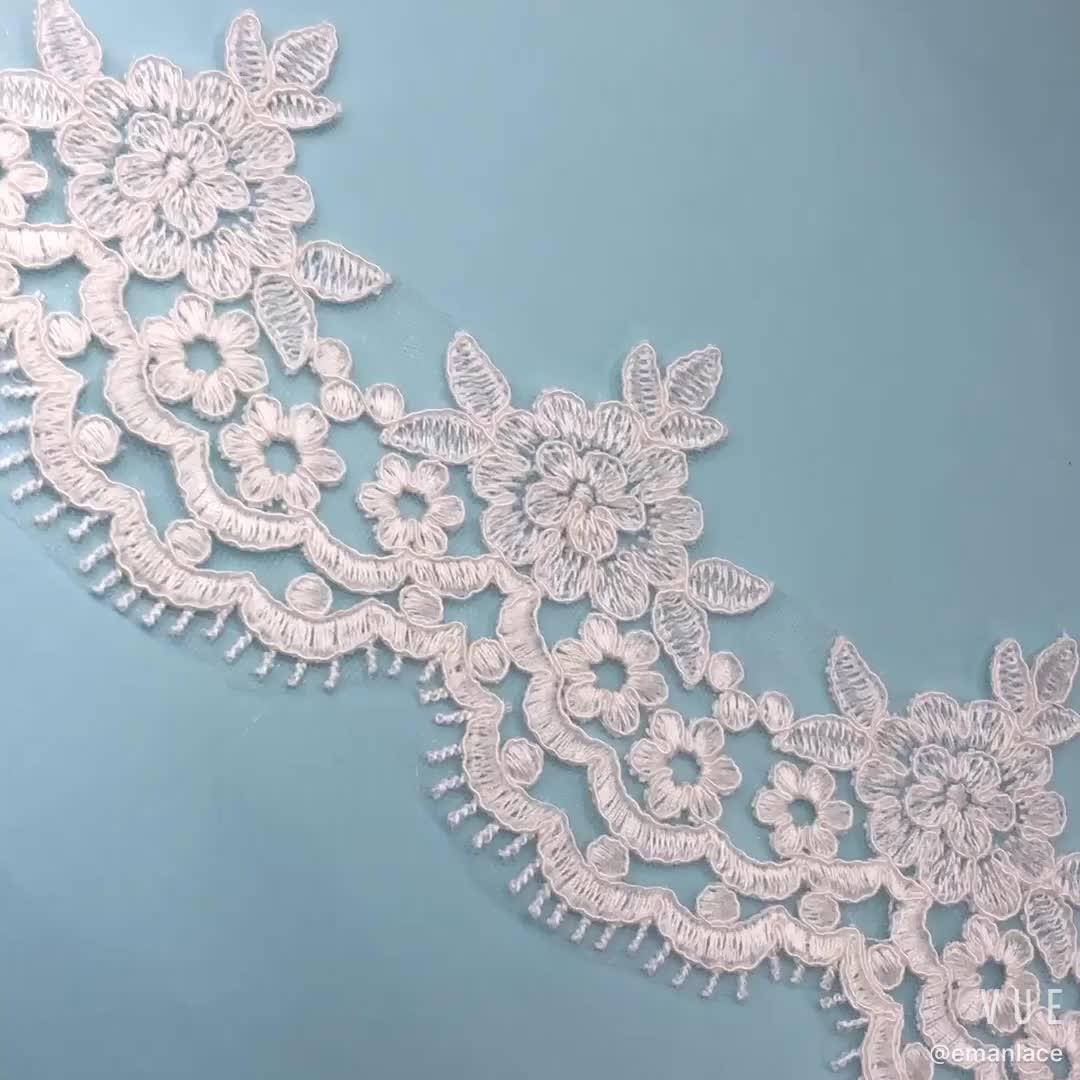 E2741 10.5cm New York Wholesale Trim Lace Elastic Flower Border Embroidered Bridal Lace Trim