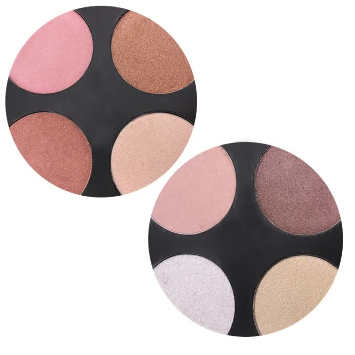 2018 New Wholesale Highlight Press Powder With Private Label 4 color Highlighter Makeup Contour Palette