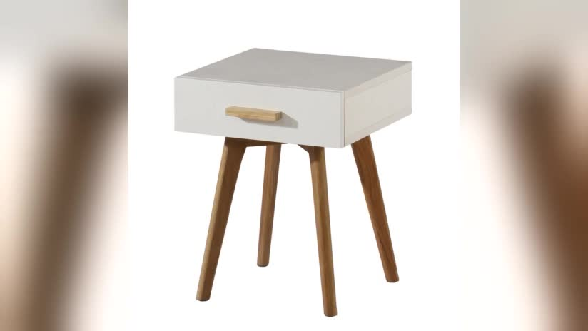 white mdf wood sofa side table with drawers