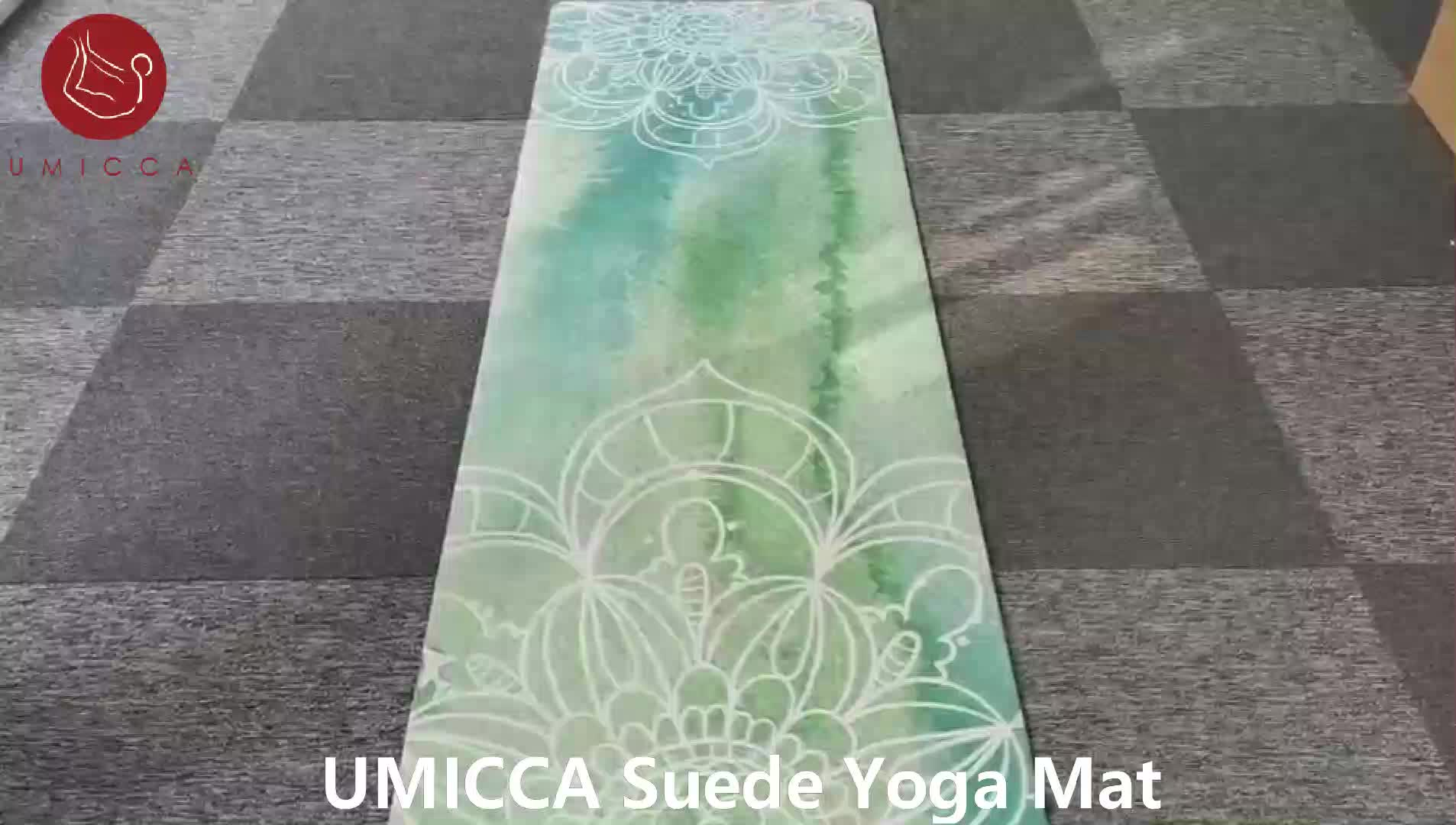 UMICCA الرخام الأبيض مخصص Oem سجاد يوجا سويدي المطاط الطبيعي المضادة للانزلاق اللياقة البدنية حصيرة للتمارين الرياضية