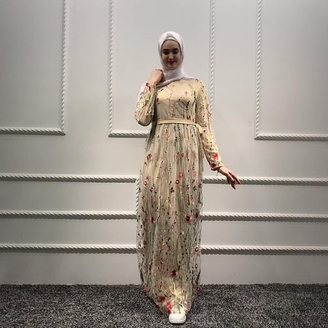 ขายส่งดูไบใหม่ชุดเสื้อผ้าอิสลามลูกไม้เย็บปักถักร้อยผ้าออกแบบชุดมุสลิม abaya