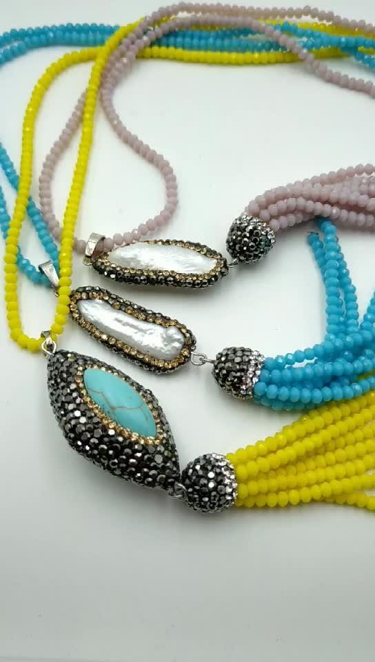 Handmade crystal gemstone pave pendant necklace boho neon tassel necklace extra long bead necklaces