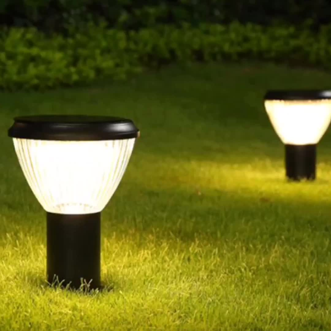 Garden outdoor waterproof solar electric led light bollard lamp