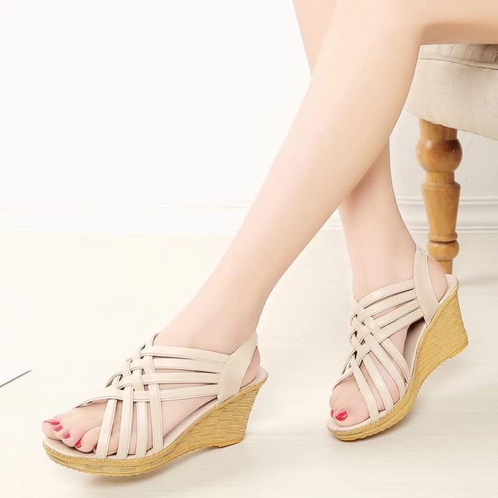 夏季坡跟女凉鞋厚底露趾鱼嘴高跟鞋草编细带组合韩版休闲鞋妈妈鞋