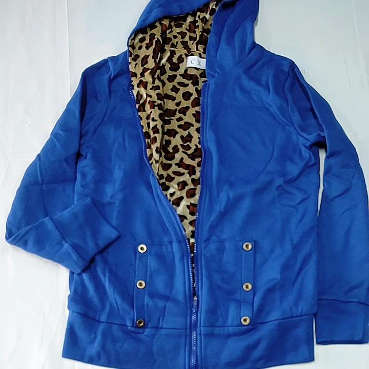 Autumn winter coat women new Korean leisure leopard hooded thick sweater coats large size cardigan jacket long vestidos