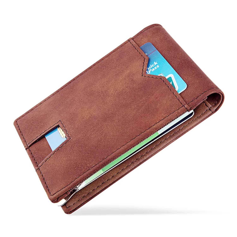 Fatto a mano su ordinazione minimalista rfid portafoglio bifold sottile mens del raccoglitore clip dei soldi della carta rfid blocco della carta di portafoglio in pelle