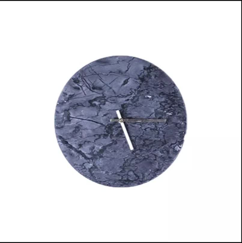 Nordic decoration wall clock, black marble silent clock for home