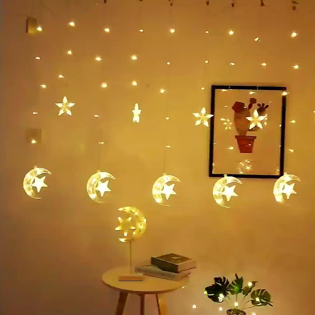 eid mubarak ramadan decorations  moon and star shape led curtain light Christmas lights decorative lights with factory prices