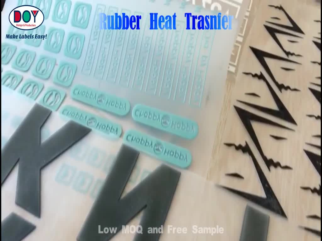 PET Vinyl Custom 3D Raised Logo High Density Rubber Silicon Heat Transfer Printed for Clothing Label