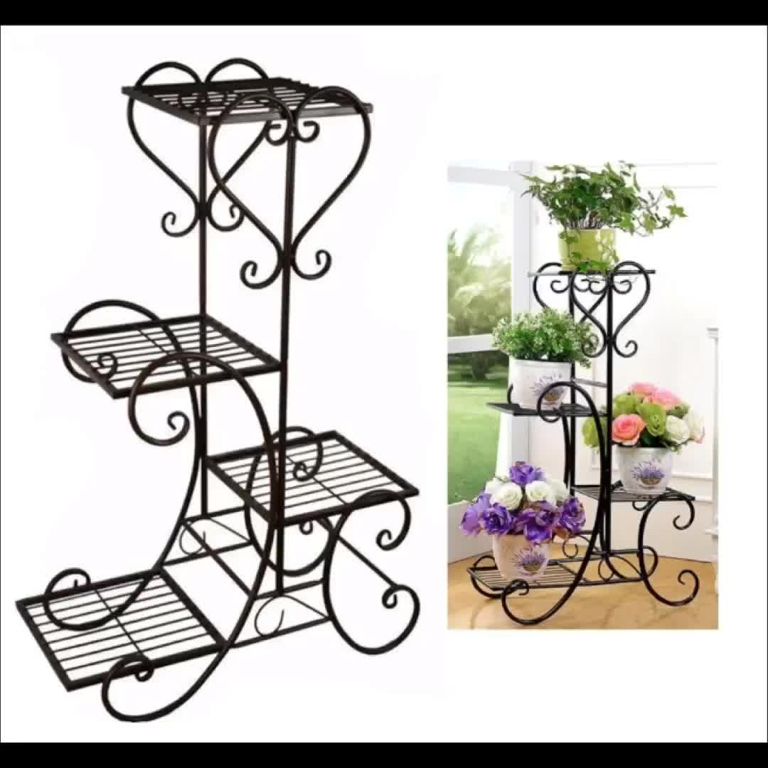 Manufacture Garden Metal Wedding Decoration Flower Pot Display Flower Stand,Three Tier Wrought Iron Wire  Metal Plant Stand