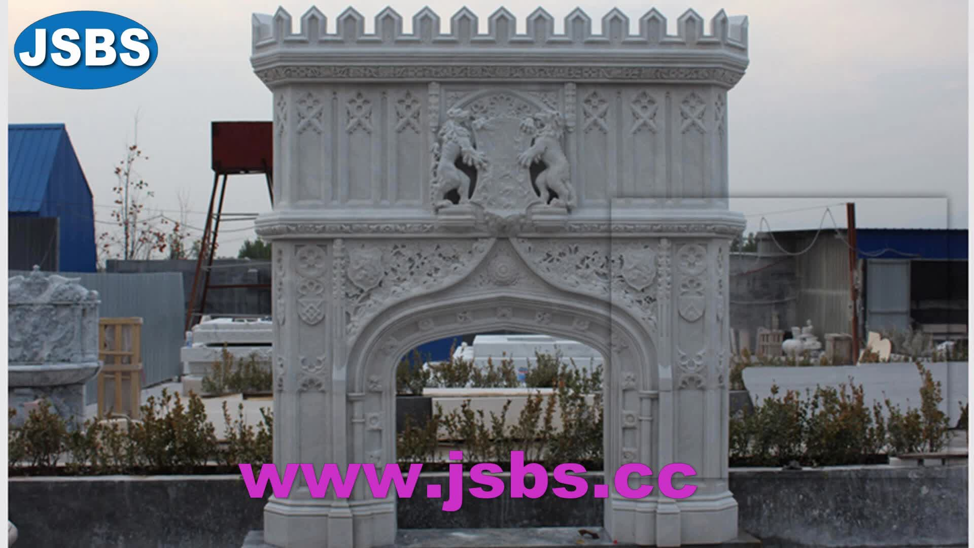 Hot Selling Beautiful Stone Carved Castle marble grape lion badge fireplace mantel