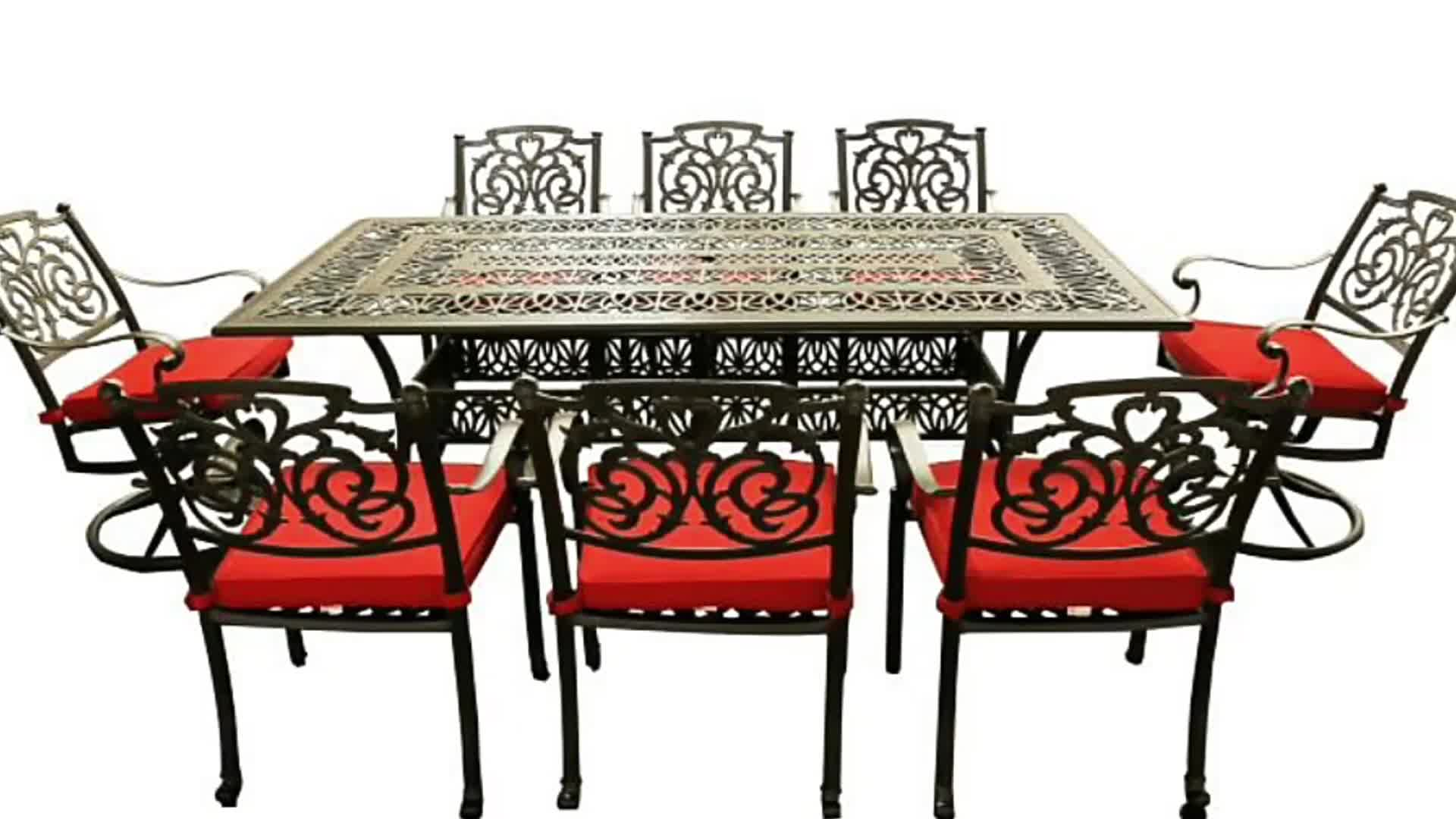9pc all weather cast aluminum outdoor garden patio. Black Bedroom Furniture Sets. Home Design Ideas