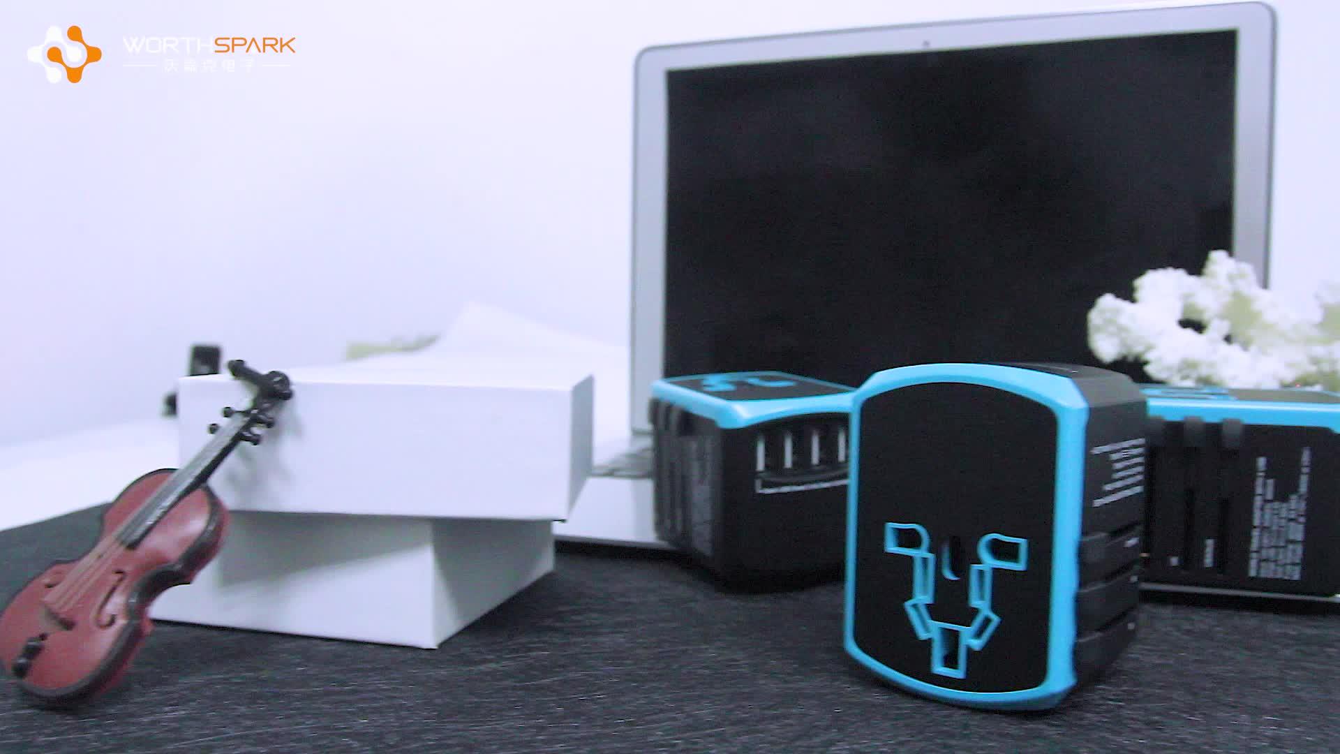 Uluslararası Seyahat Adaptörü AB AUS İNGILTERE ABD Fiş Soket Evrensel Hızlı Şarj Küresel Seyahat Adaptörü 4 Port USB