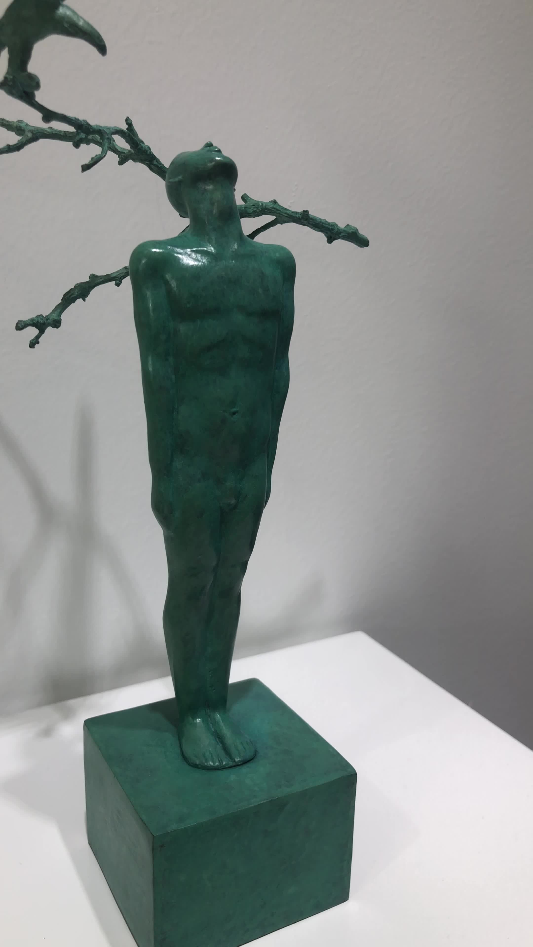 11*19*30 cm High quality green investment value bronze casting human and nature statue artwork